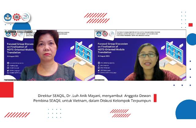 SEAQIL menerjemahkan Modul berorientasi HOTS  dalam bahasa Lao, Khmer, dan Vietnam